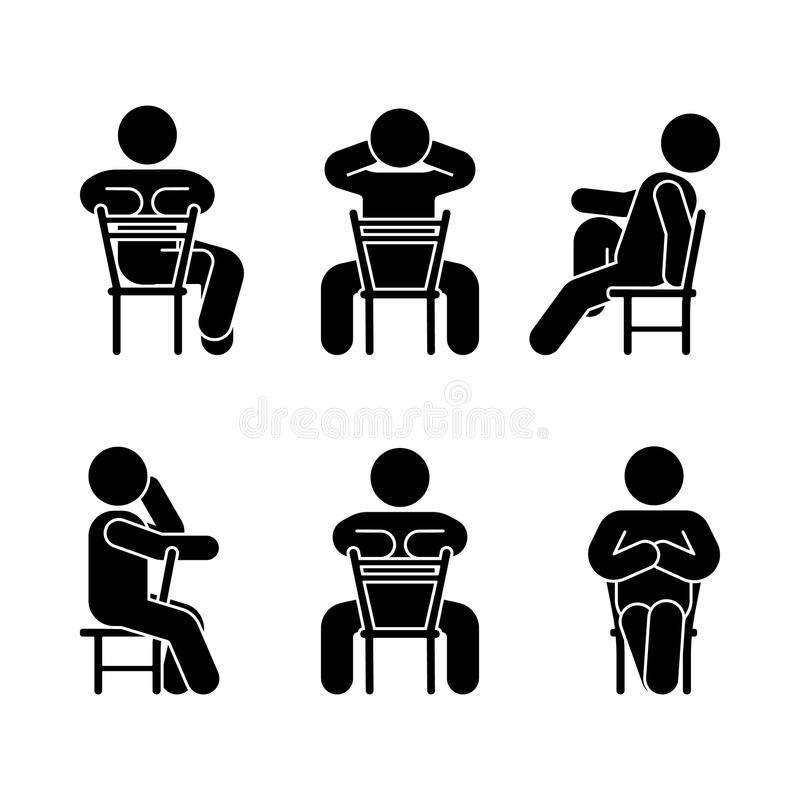 妇女人各种各样的坐姿 姿势棍子形象 皇族释放例证
