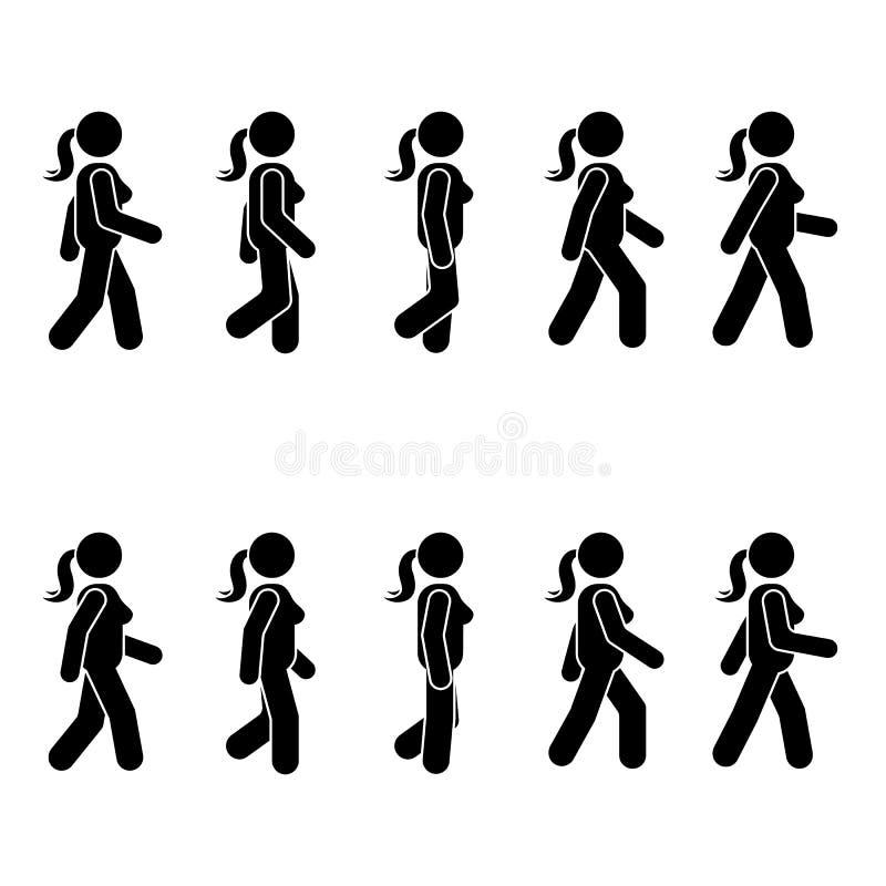 妇女人各种各样的走的位置 姿势棍子形象 导航在白色的常设人象标志标志图表 向量例证