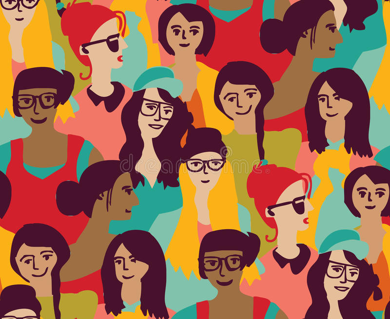 仅妇女人群小组颜色无缝的样式 向量例证