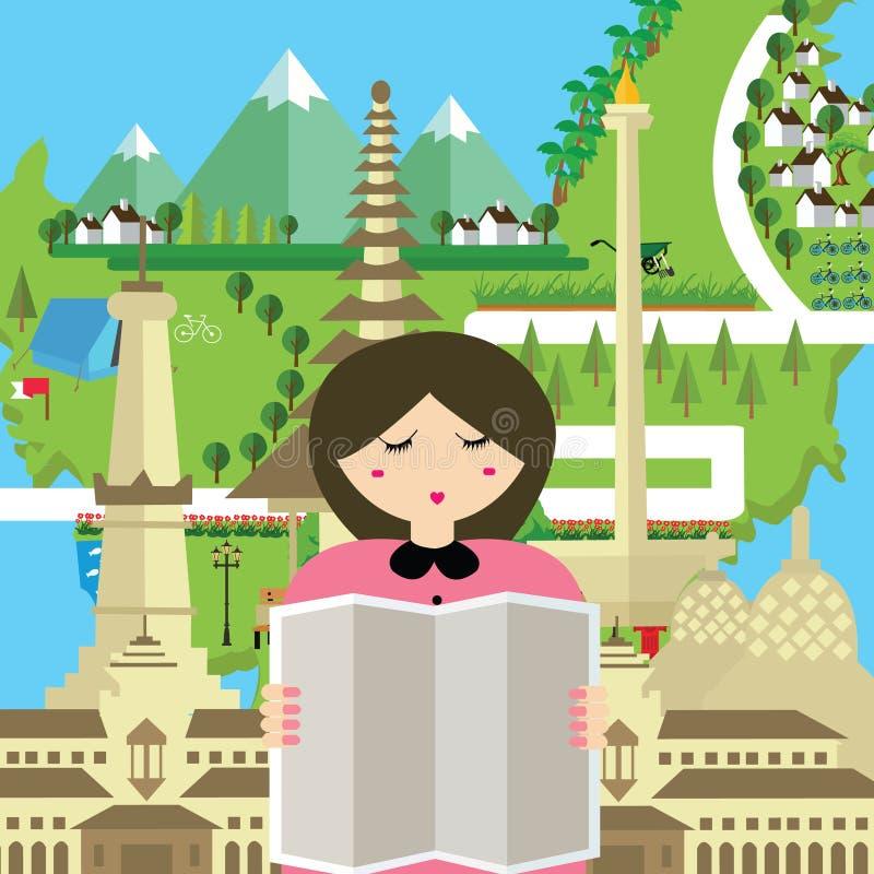 妇女人读了地图印度尼西亚旅游业巴厘岛万隆雅加达日惹纪念碑 皇族释放例证