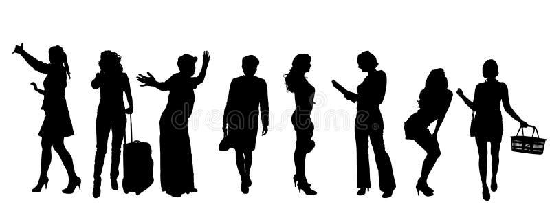 妇女传染媒介剪影  库存例证