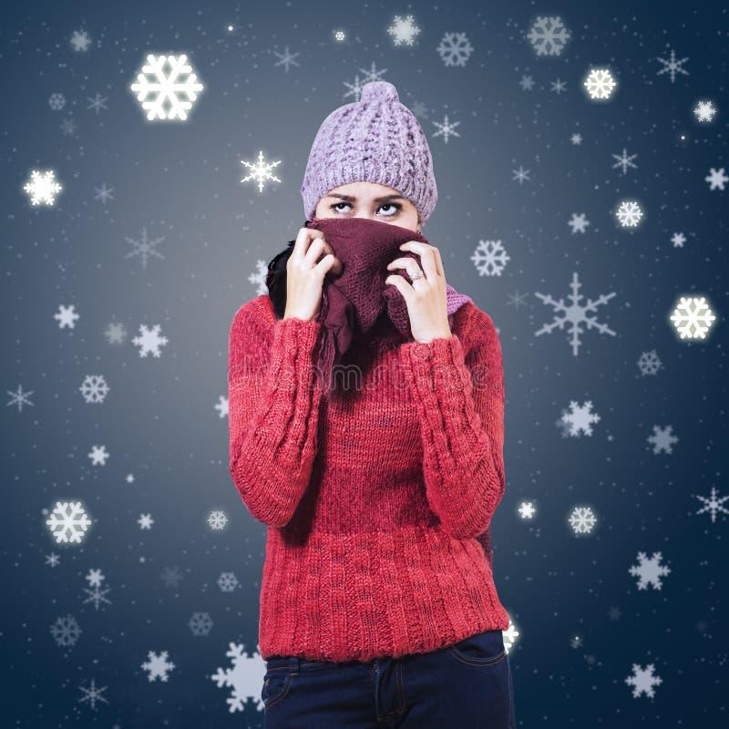 妇女佩带的冬天衣物 免版税库存图片