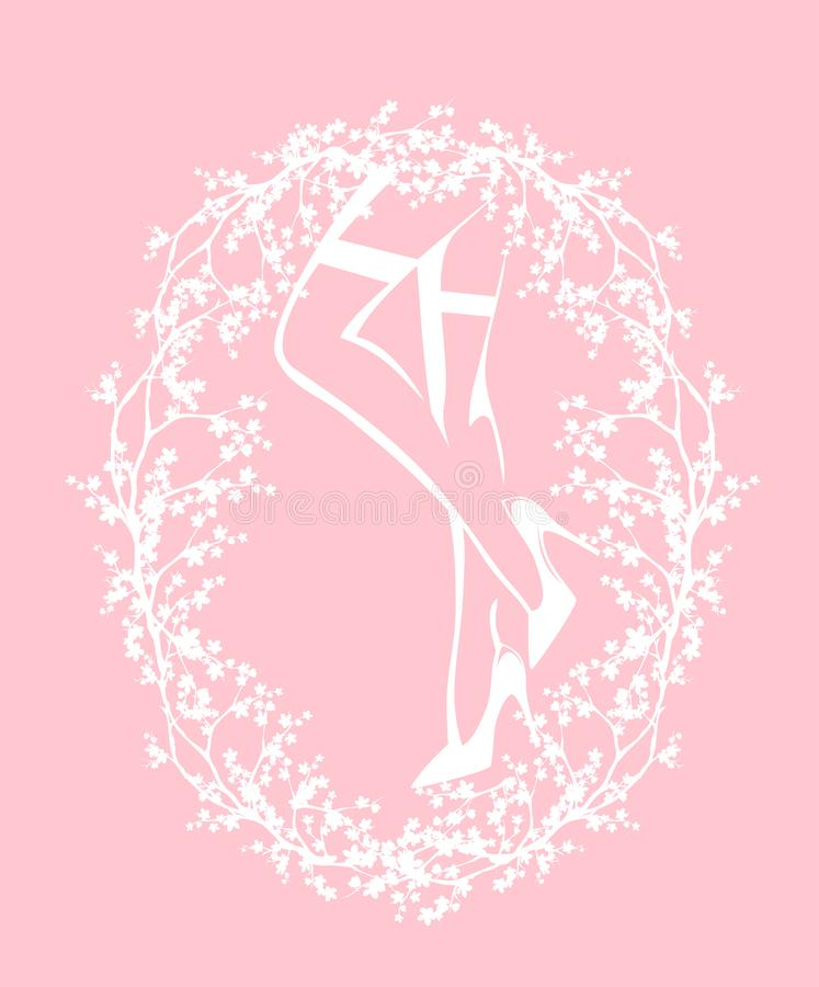 妇女佩带的长袜和脚跟导航概述设计 皇族释放例证