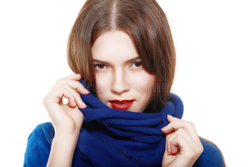 妇女佩带羊毛 免版税库存图片
