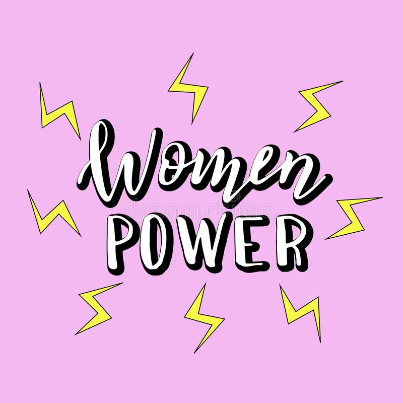 妇女供给与动画片闪电的手写的口号动力 现代女权在上写字的海报 T恤杉的,杯子,贴纸印刷品 向量例证