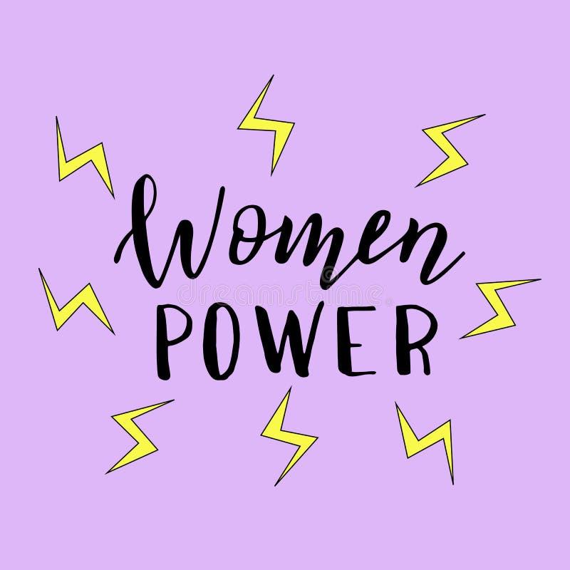 妇女供给手拉的海报动力 时髦女权贴纸,T恤杉的,杯子,盖子印刷品 向量例证