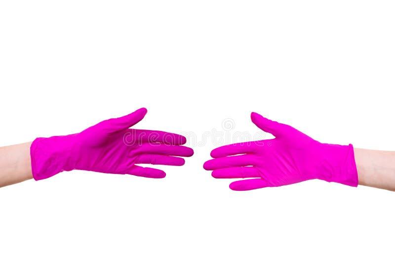 妇女保持运载特写镜头手套医生招待所桃红色护士手白色背景医疗顾客握手 图库摄影