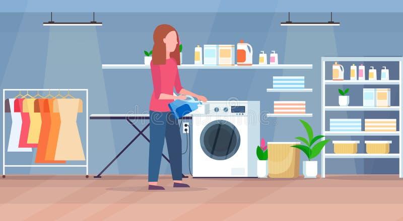 妇女倾吐的粉末胶凝体到做家事现代洗衣房内部卡通人物的洗衣机主妇里 向量例证