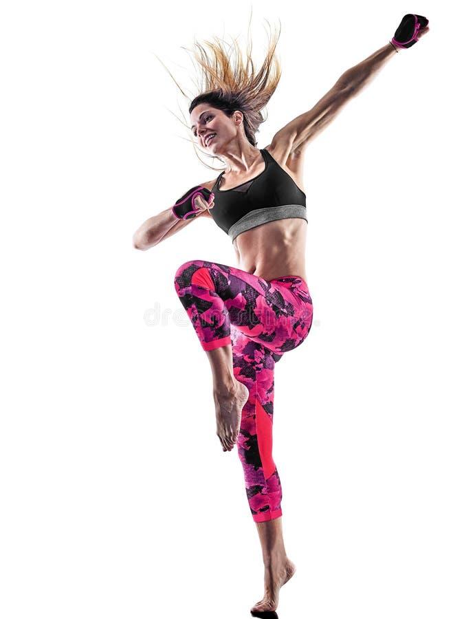 妇女健身拳击被隔绝的pilates excercises 库存照片
