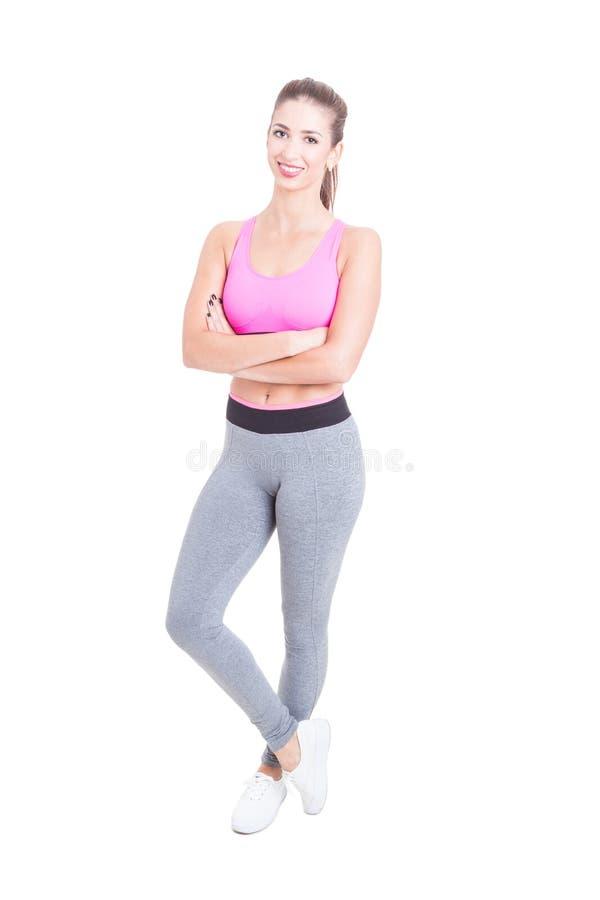 妇女健身的充分的身体或有氧辅导员 库存照片