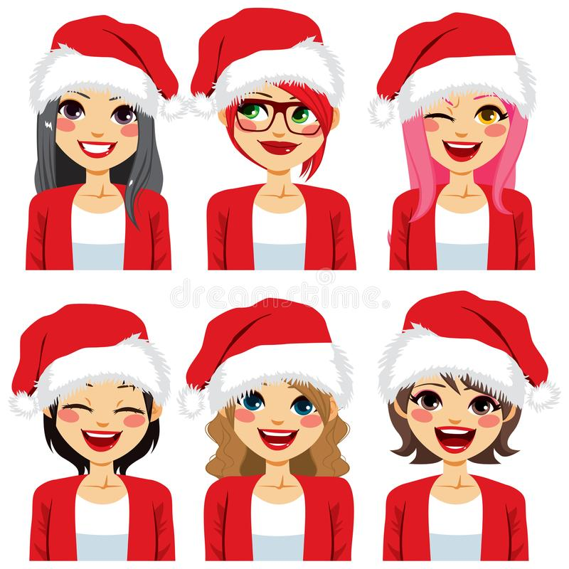 妇女具体化圣诞老人帽子 皇族释放例证