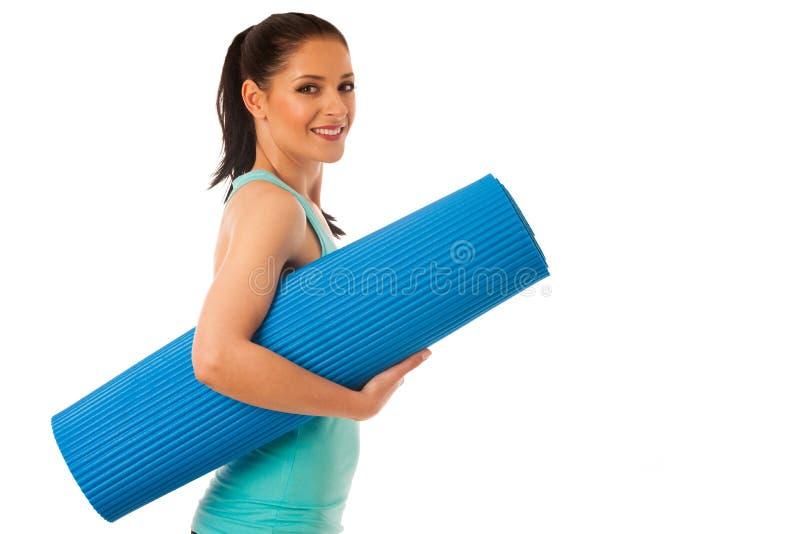 妇女准备好锻炼运载一席子准备好dor体重fitn 免版税库存图片