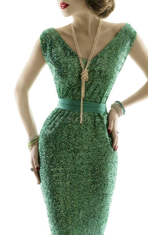 妇女减速火箭的时尚礼服,闪闪发光衣服饰物之小金属片褂子,典雅的衣物 库存图片