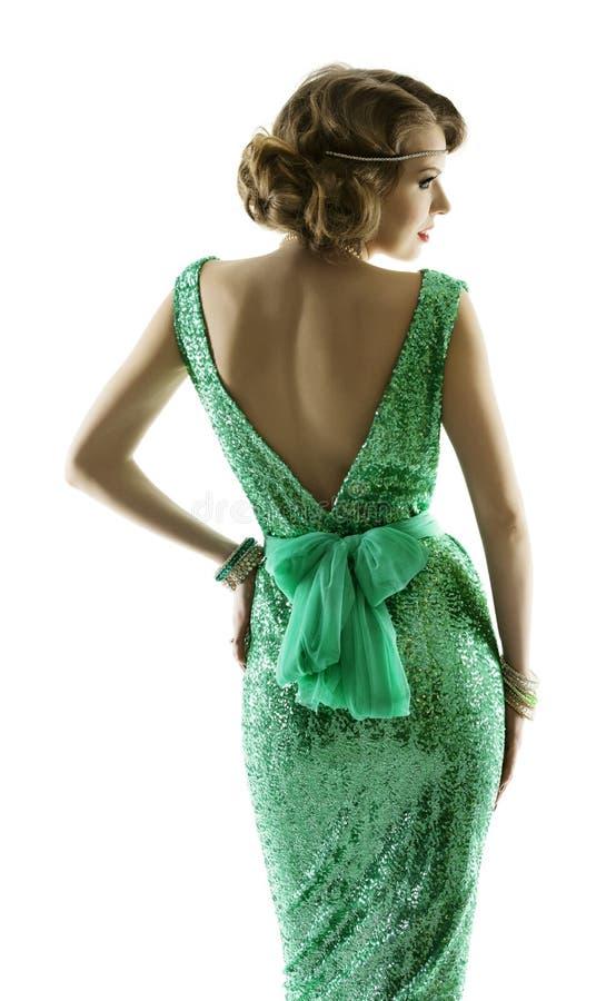 妇女减速火箭的时尚闪闪发光衣服饰物之小金属片礼服,典雅的葡萄酒样式 库存图片
