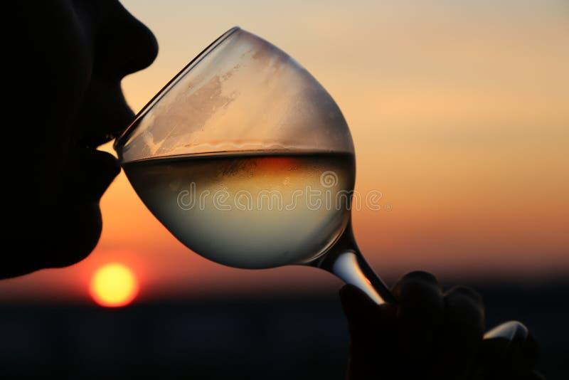 妇女剪影有misted杯的在日落、五颜六色的天空和太阳的白酒在饮料反射了 免版税库存照片