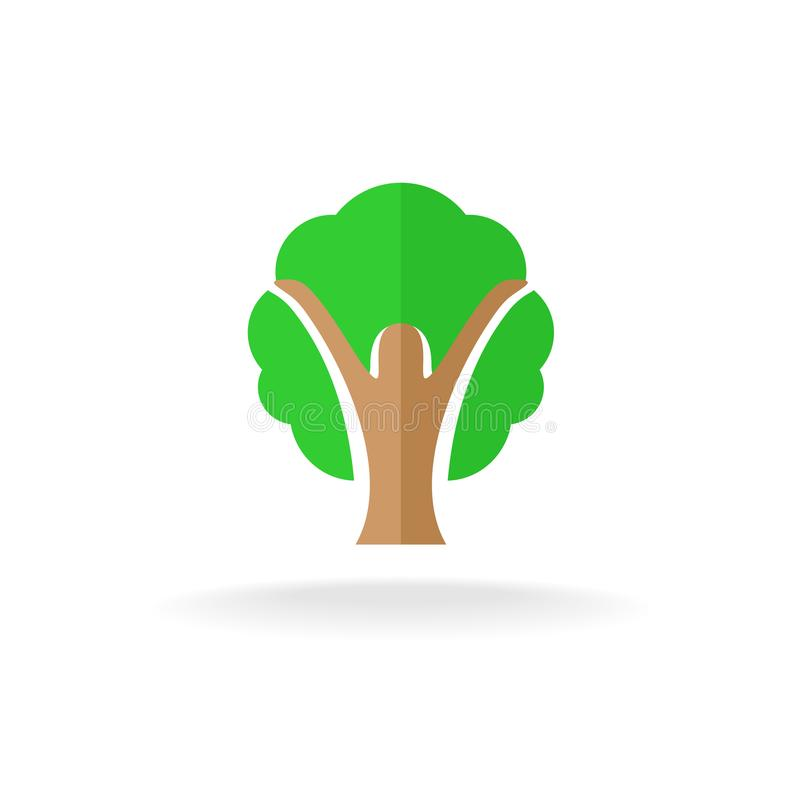 妇女剪影树商标 库存例证
