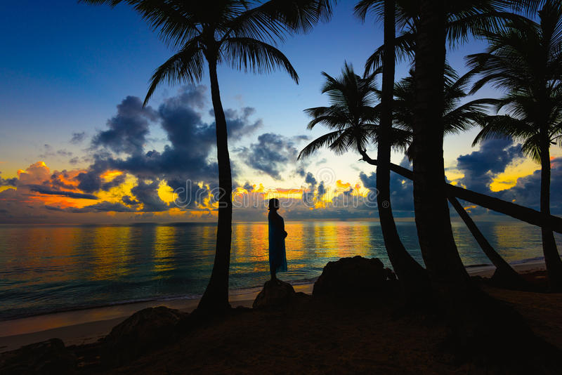 妇女剪影海滩的 免版税库存图片