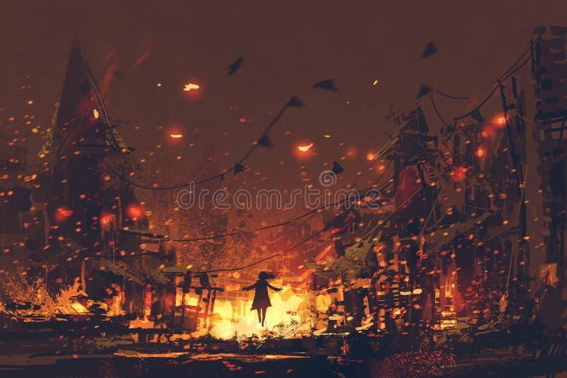 妇女剪影灼烧的村庄背景的 皇族释放例证