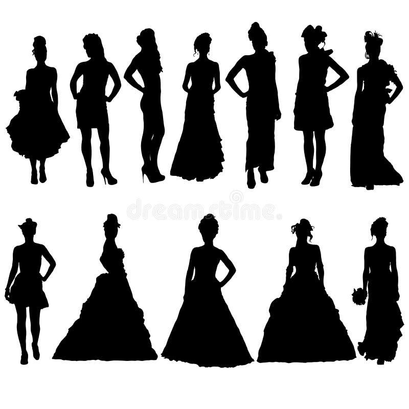 妇女剪影以各种各样的礼服。 向量例证