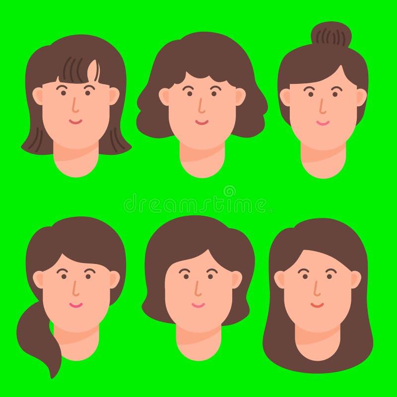 妇女动画片具体化面孔象集合 向量例证