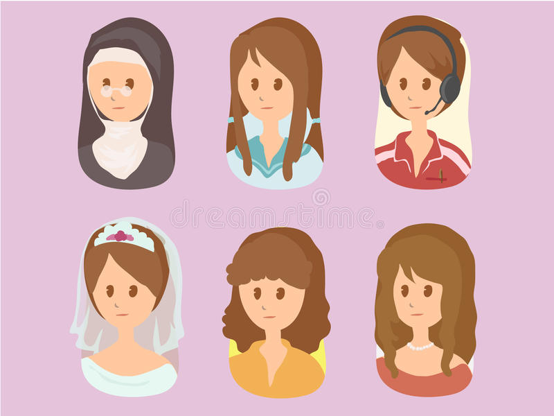 妇女动画片集合2vector 免版税图库摄影