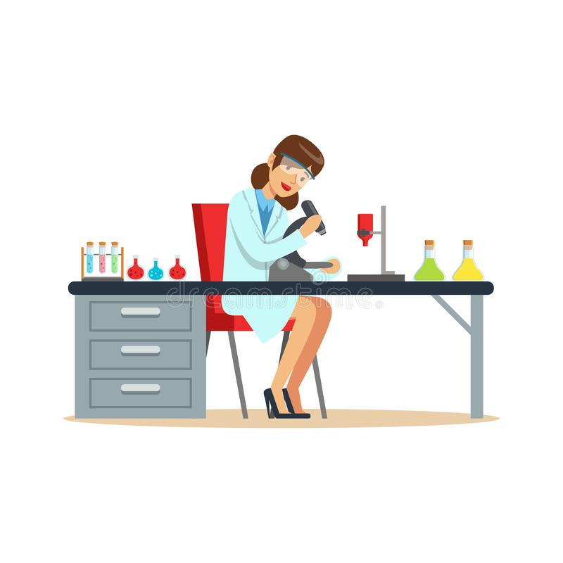 妇女化学家与显微镜和试管一起使用在实验室里 库存例证