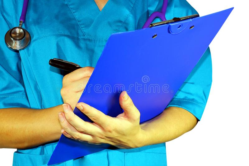 妇女医学医生在医学的手上患者的 图库摄影