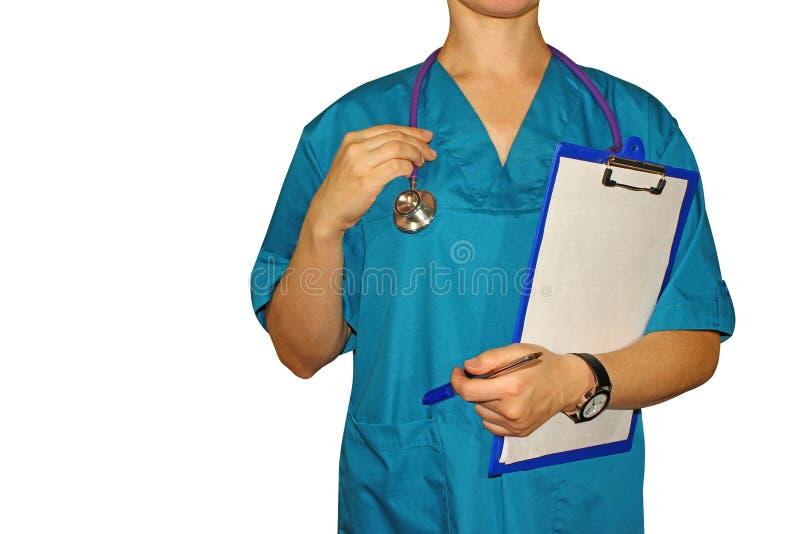 妇女医学医生在手上患者的一个文件夹 库存照片