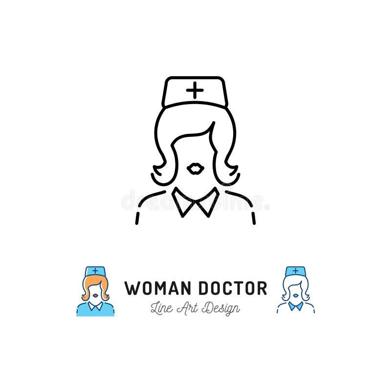 妇女医生象,医护人员,护士象 稀薄的线艺术标志,导航平的例证 向量例证