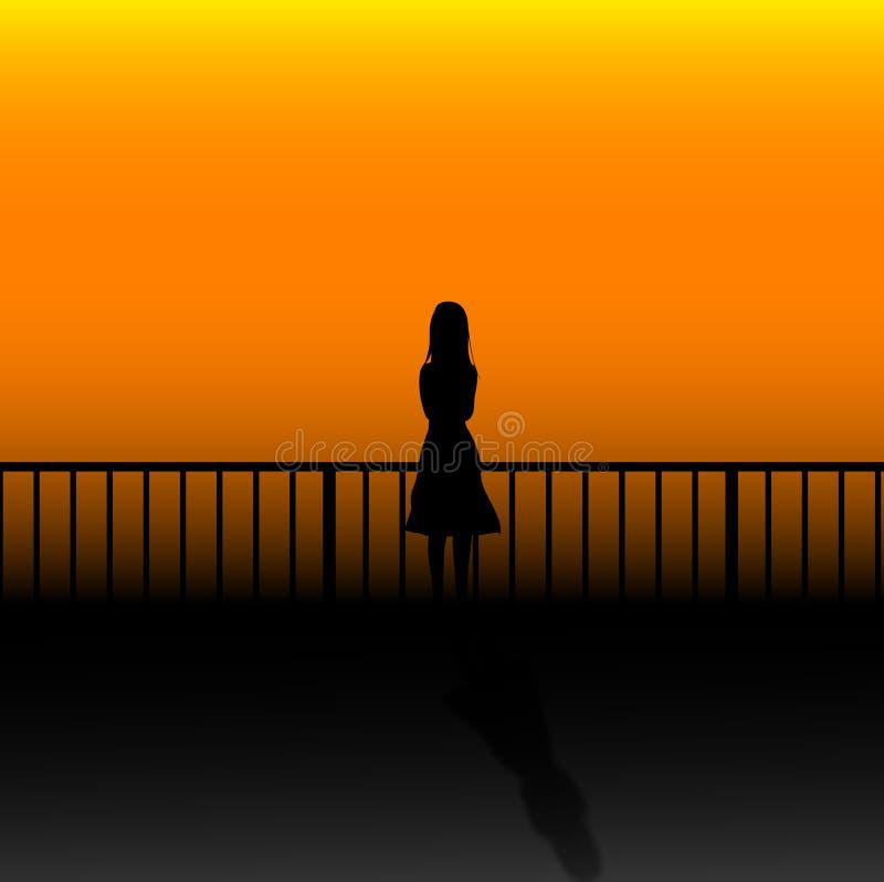 妇女单独等待 向量例证