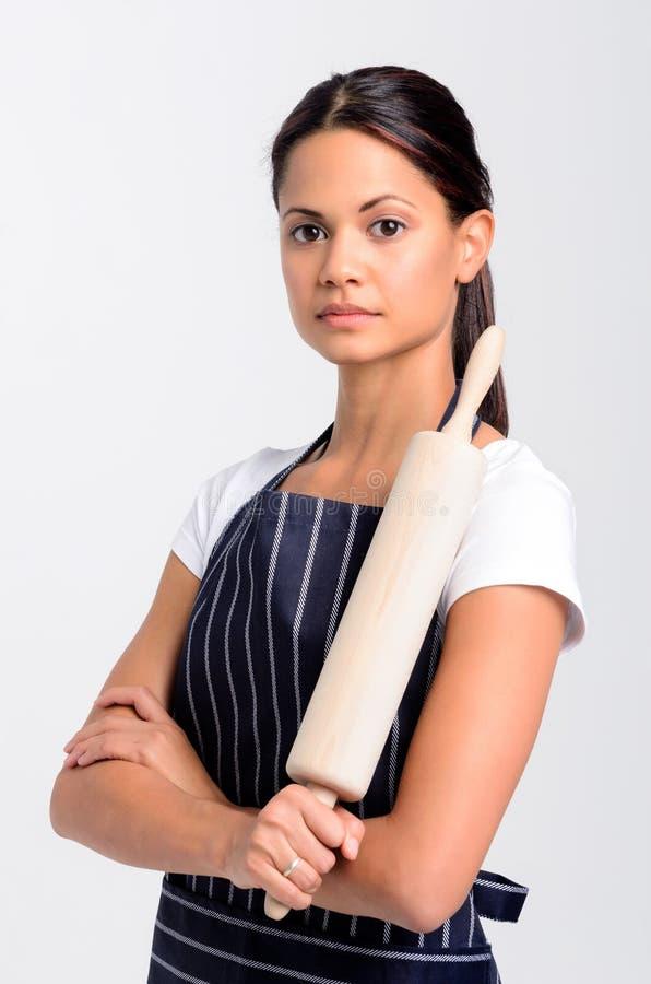 妇女厨师面包师专家的画象 免版税库存图片