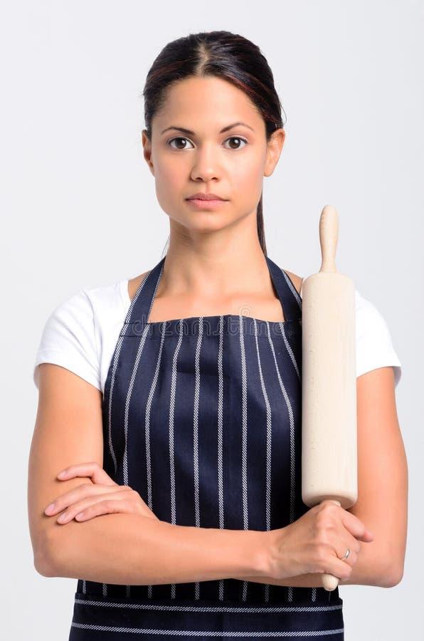 妇女厨师面包师专家的画象 免版税库存照片