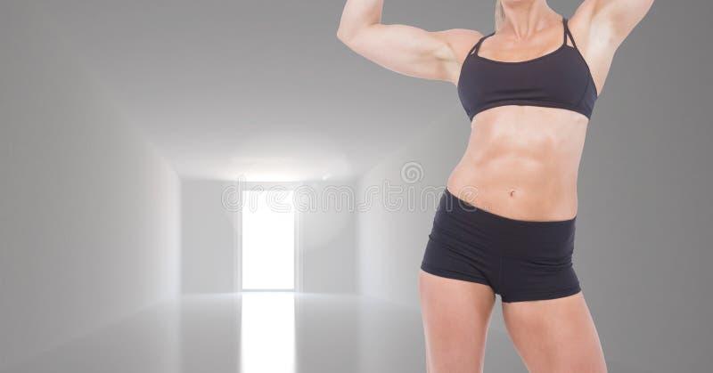 妇女反对空的室的健身躯干的综合图象 向量例证