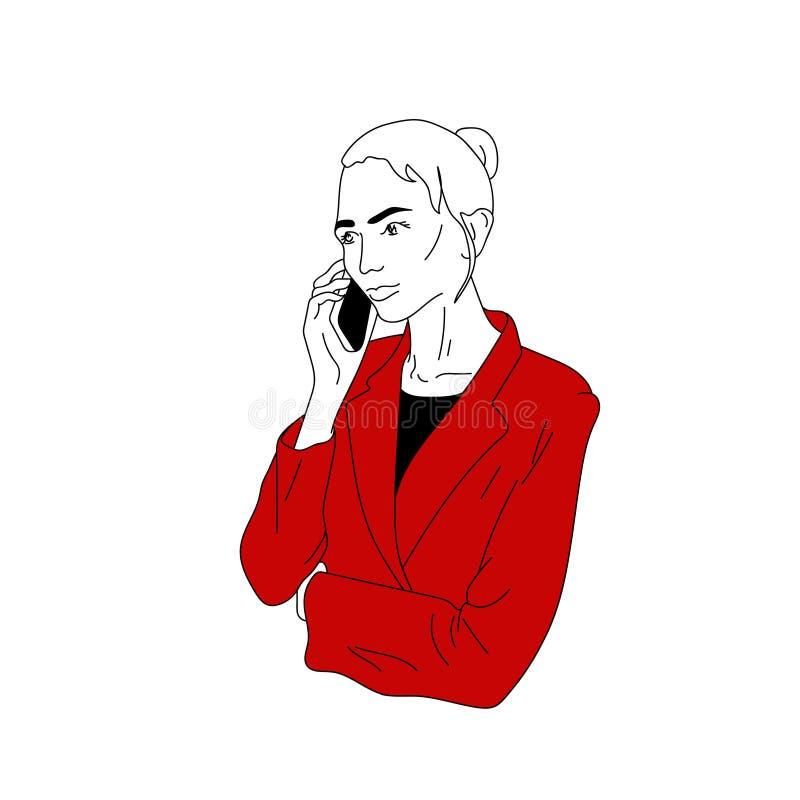 妇女叫,谈话在电话 皇族释放例证