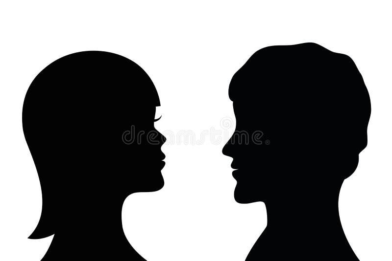 妇女和人剪影边外形 向量例证