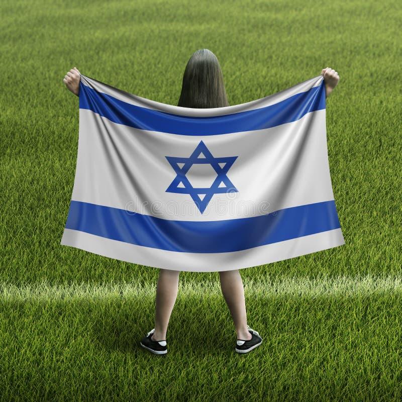 妇女和以色列旗子 库存例证