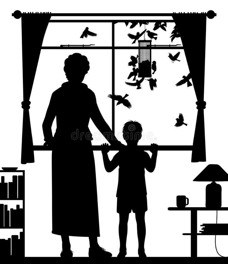 妇女和儿童观看的鸟 库存例证