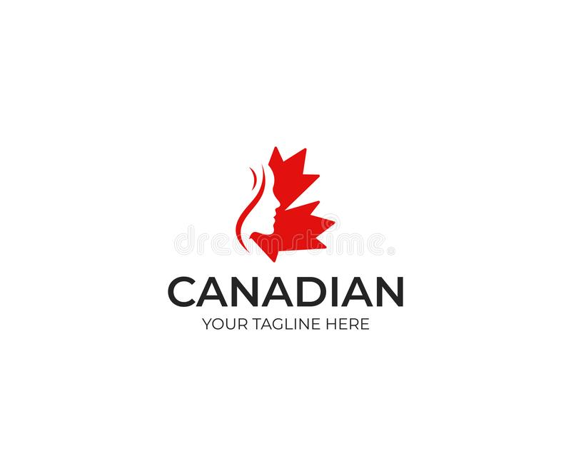 妇女和加拿大枫叶商标模板 在加拿大叶子传染媒介设计的美丽的妇女` s面孔剪影 向量例证