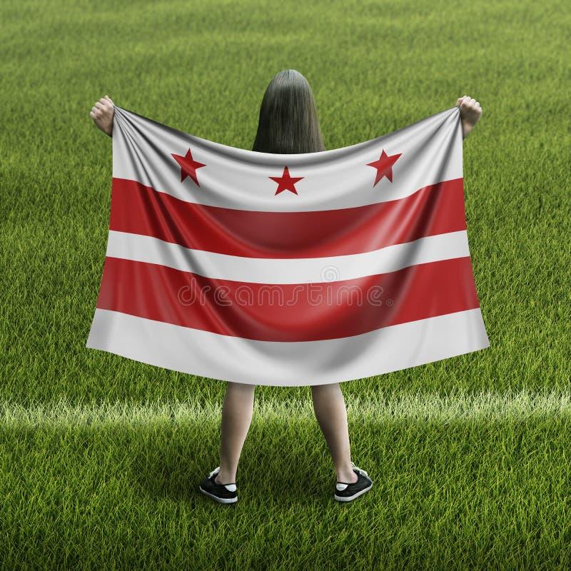 妇女和华盛顿D C 标志 皇族释放例证