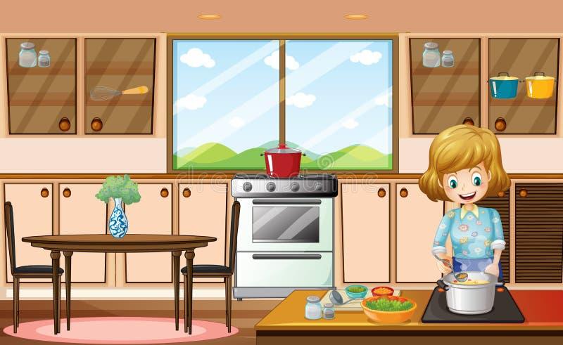 妇女和厨房 库存例证