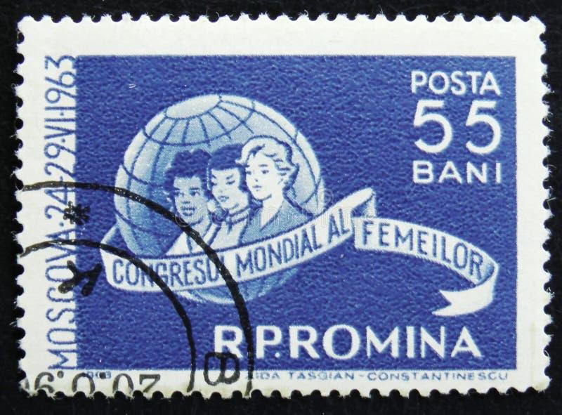 妇女和地球,妇女` s国会,莫斯科, 6月24-29,大约1963年 免版税库存图片