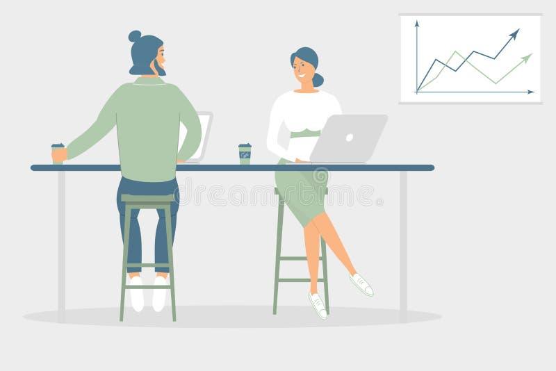 妇女和坐在书桌的人朋友或者同事在现代办公室,工作在笔记本和片剂,食用咖啡,谈话 ?? 向量例证