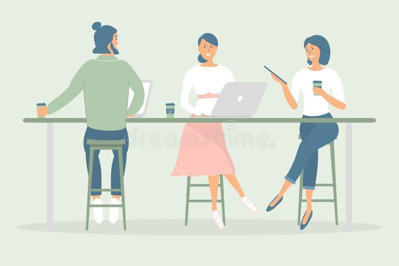妇女和坐在现代办公室或咖啡馆的书桌的人朋友或者同事,工作在笔记本和片剂,食用咖啡,谈话 库存例证
