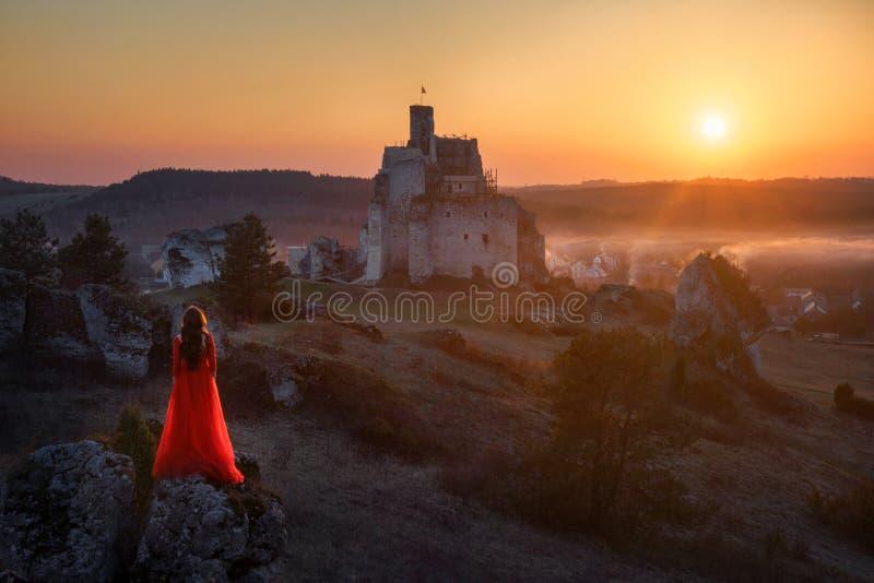 妇女和城堡 库存照片