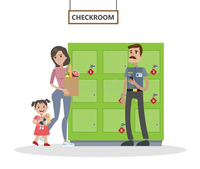 妇女和她的女儿衣物柜的 库存例证