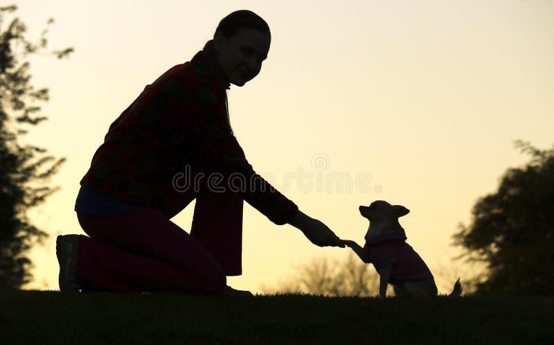 妇女和狗` s剪影 免版税库存图片