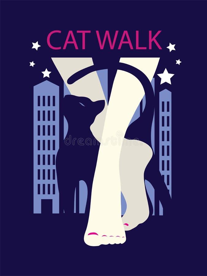 妇女和猫的图表剪影 皇族释放例证