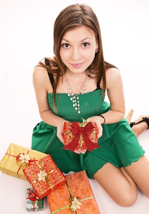妇女和礼物 免版税库存照片