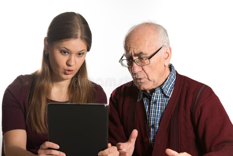 妇女和老人 免版税图库摄影