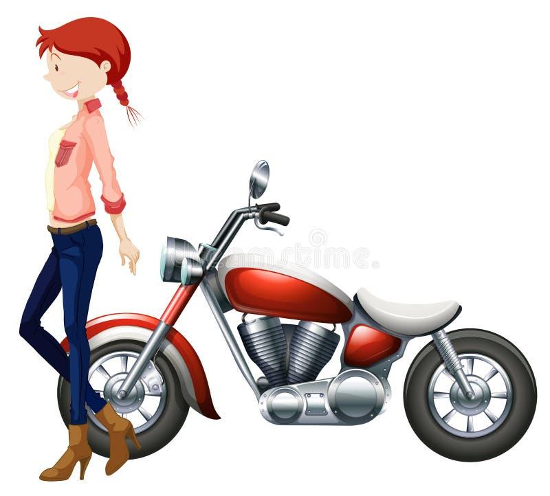 妇女和葡萄酒motocycle 皇族释放例证